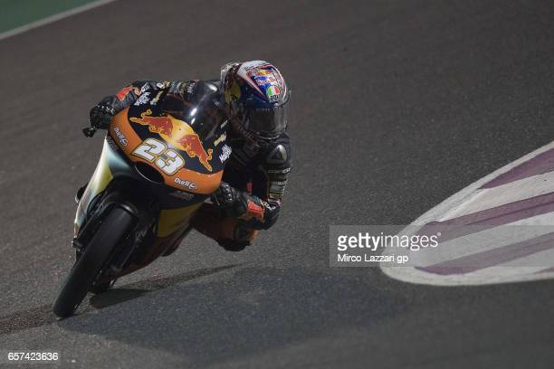 Niccolo Antonelli of Italy and Red Bull KTM Ajo rounds the bend during the MotoGp of Qatar Free Practice at Losail Circuit on March 24 2017 in Doha...