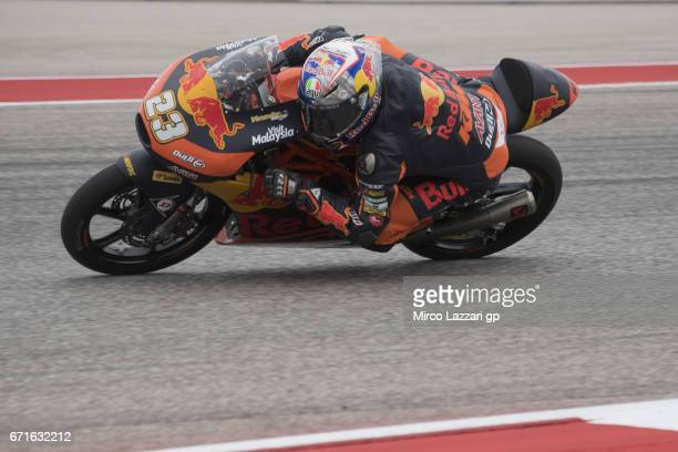 Niccolo Antonelli of Italy and Red Bull KTM Ajo rounds the bend during the qualifying practice during the MotoGp Red Bull US Grand Prix of The...