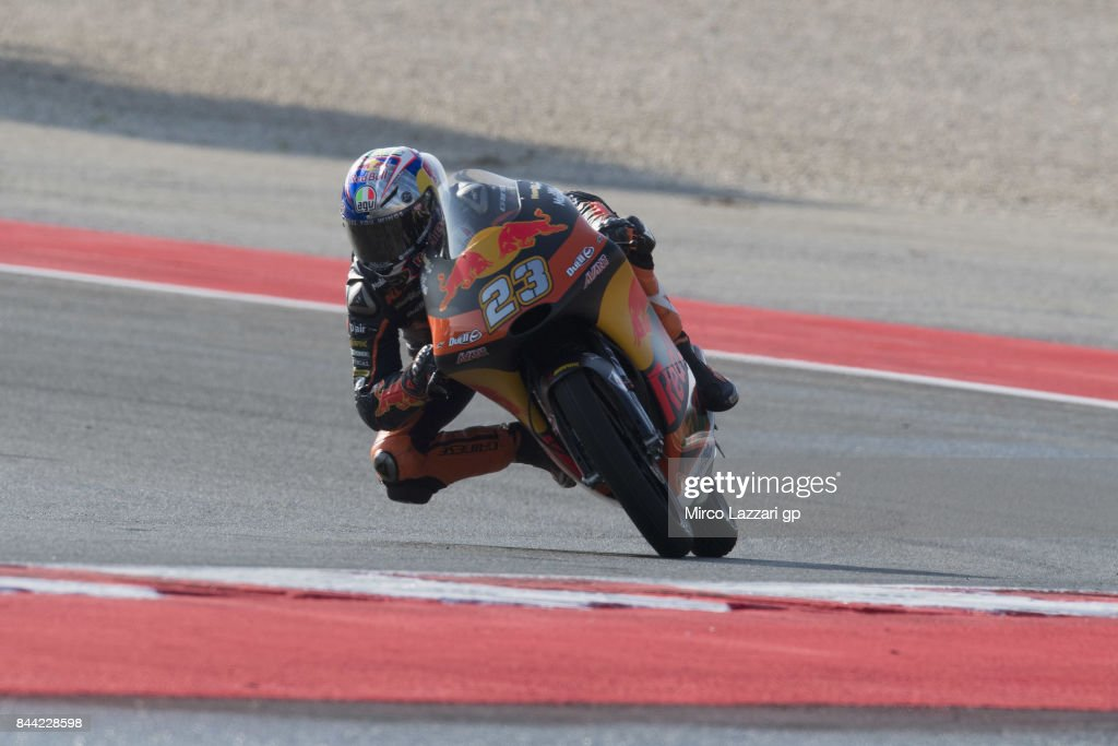 Niccolo Antonelli of Italy and Red Bull KTM Ajo rounds the bend during the MotoGP of San Marino - Free Practice at Misano World Circuit on September 8, 2017 in Misano Adriatico, Italy.