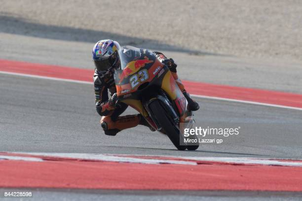 Niccolo Antonelli of Italy and Red Bull KTM Ajo rounds the bend during the MotoGP of San Marino Free Practice at Misano World Circuit on September 8...