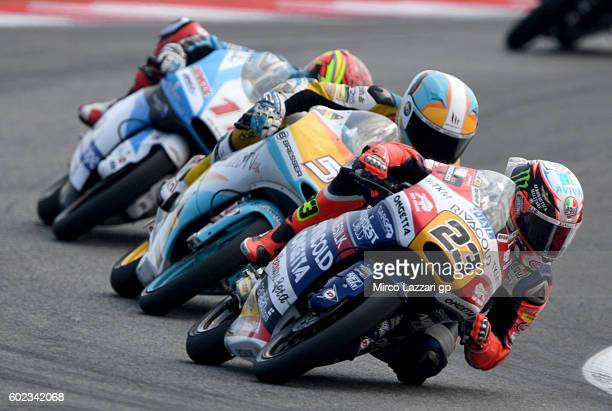 Niccolo Antonelli of team OgnettaRivacold in action during Moto3 race at Misano World Circuit on September 11 2016 in Misano Adriatico Italy