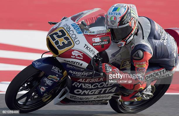 Niccolo Antonelli of team OngettaRivacold in action during Moto3 Free Practice at Misano World Circuit on September 9 2016 in Misano Adriatico Italy