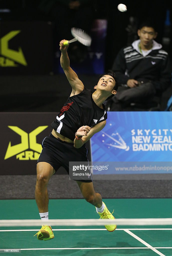 Niccolo Tagle of New Zealand in action during qualifying for the New Zealand Badminton Open at North Shore Events Centre on April 10, 2013 in Auckland, New Zealand.