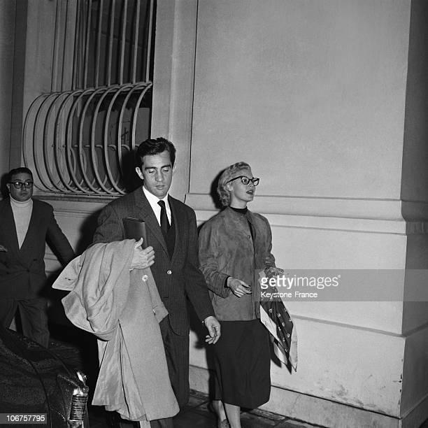 Nice Actress Ava Gardner With Walther Chiarri In Front Of The Negresco Hotel In February 1957