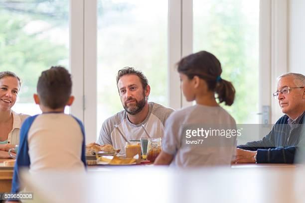 Nice conversation at breakfast
