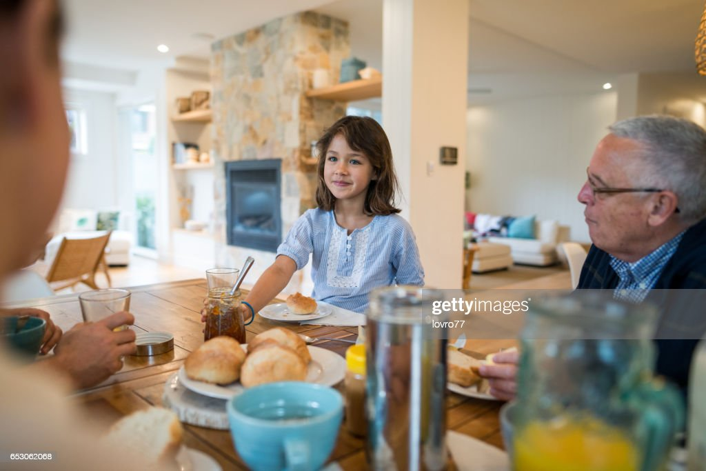 Nice conversation at breakfast : Stock Photo
