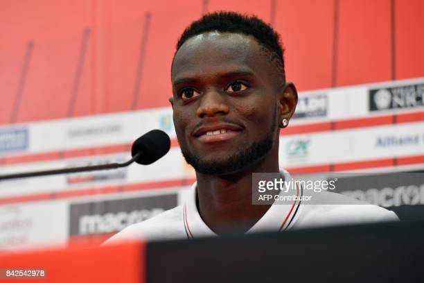 OGC Nice football club's new recruit Senegalese defender Racine Coly speaks during a press conference to present the club's new players on September...
