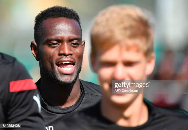 OGC Nice football club's new recruit Senegalese defender Racine Coly takes part in a training session on September 4 2017 at the Allianz Riviera...