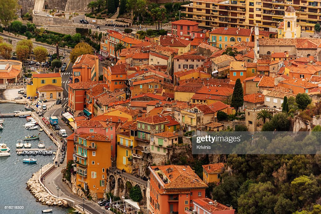 Nice, France: panoramic top view of Port : Stock Photo