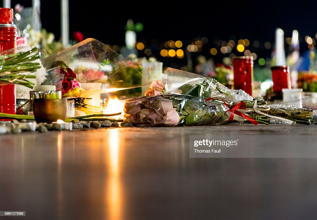 Nice, France Terrorist Attack Memorial Detail : Stock Photo