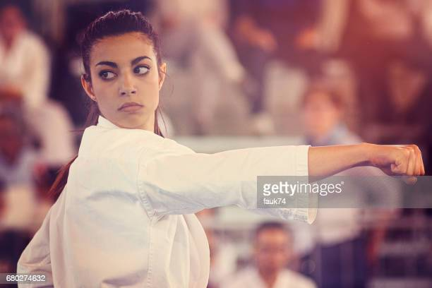Nice Girl Performing Karate at a Competition