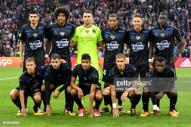 Nice line up prior to the UEFA Champions League Qualifying Third Round Second Leg match between AJAX Amsterdam and OSC Nice at Amsterdam Arena on...