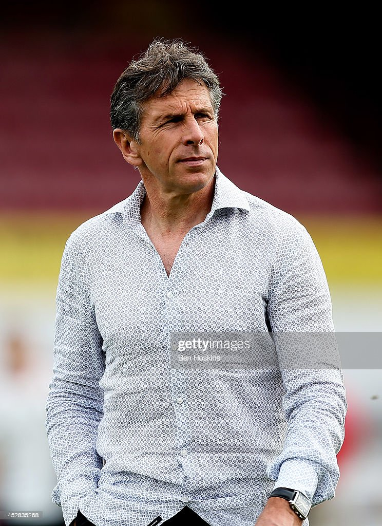 Nice manager <a gi-track='captionPersonalityLinkClicked' href=/galleries/search?phrase=Claude+Puel&family=editorial&specificpeople=697176 ng-click='$event.stopPropagation()'>Claude Puel</a> looks on ahead of the Pre Season Friendly between Brentford and Nice at Griffin Park on July 26, 2014 in Brentford, England.
