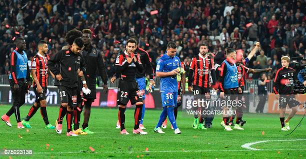 Nice players celebrates their 31 win over Paris SaintGermain in the French L1 football match Nice vs Paris Saint Germain on April 30 2017 at the...