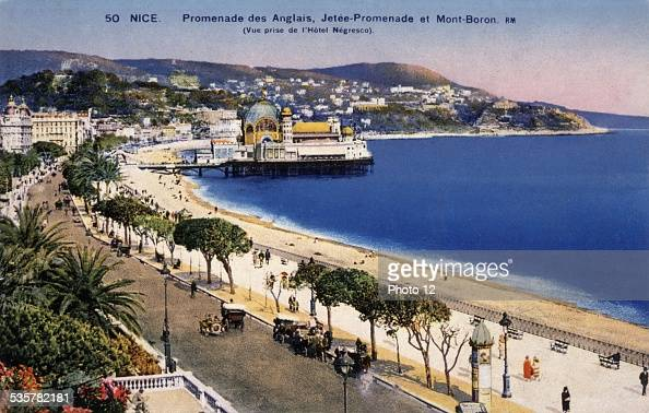 Nice The 'Promenade des Anglais' the pier and Mount Boron Early 20th century France