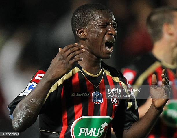 Nice's Abdou Traore reacts during the French Cup semifinal football match Nice versus Lille on April 19 2011 at the Ray Stadium in Nice southeastern...
