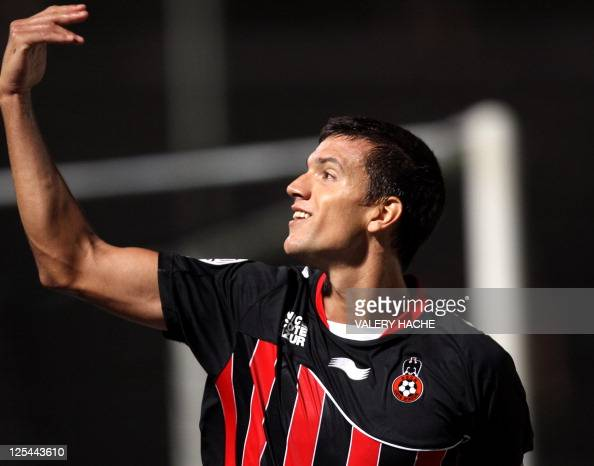 Nice's defender Renato Civelli of Argentina jubilates after scoring a goal during their French L1 football match Nice vs Ajaccio on September 17 2011...