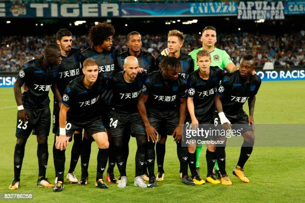 Nice's football team players pose before the UEFA Champions League Play Off first leg football match SSC Napoli vs OCG Nice on August 16 2017 at the...