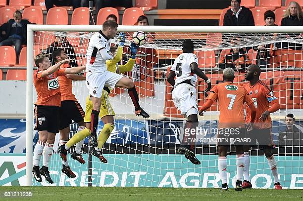 Nice's French defender Maxime Le Marchand tries to score a goal during the French Cup football match between Lorient and Nice on January 8 2017 at...
