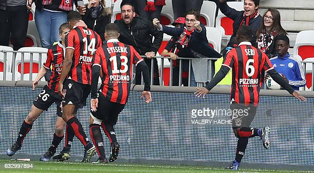 Nice's French forward Alassane Plea celebrates after scoring a goal during the French L1 football match Nice vs Guingamp on January 29 2017 at the...