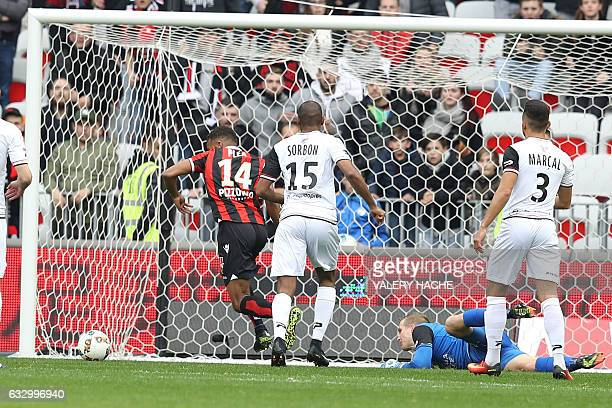 Nice's French forward Alassane Plea shoots to scores a goal during the French L1 football match Nice vs Guingamp on January 29 2017 at the 'Allianz...
