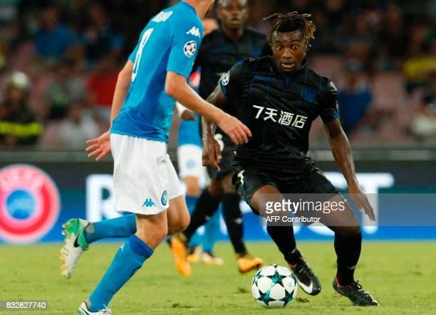 Nice's French forward Allan SaintMaximin controls the ball during the UEFA Champions League Play Off first leg football match SSC Napoli vs OCG Nice...