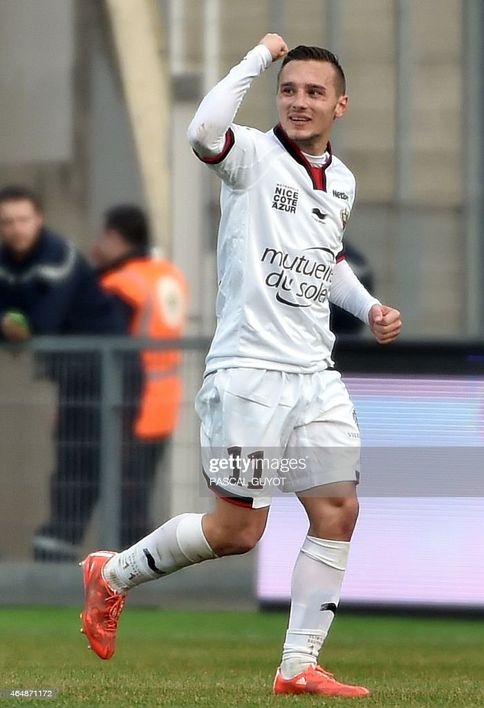 Nice's French forward Eric Bautheac reacts after scoring a goal during the French L1 football match between Montpellier (MHSC) and Nice (OGNC) on March 1, 2015 at the la Mosson Stadium in Montpellier, southern France.
