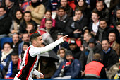 Nice's French forward Hatem Ben Arfa reacts after a goal during the French L1 match between Paris SaintGermain and Nice on April 2 2016 at the Parc...
