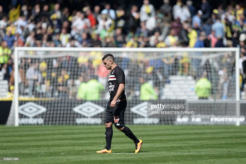 Nice's French forward Hatem Ben Arfa reacts at the end of the French L1 football match between Nantes and Nice on April 30, 2016 at the Beaujoire stadium in Nantes, western France.