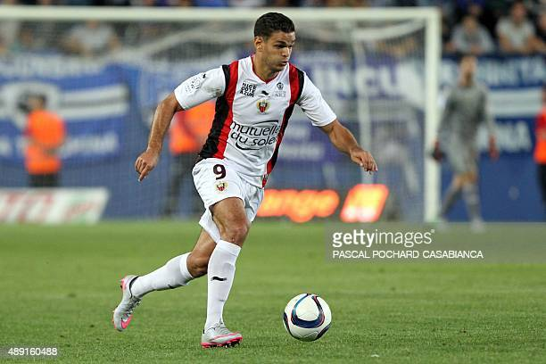 Nice's French forward Hatem Ben Arfa runs with the ball during the French L1 football match Bastia against Nice on September 19 2015 in the Armand...