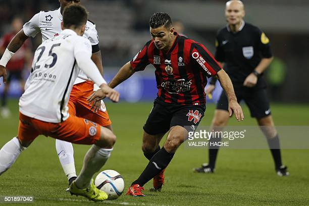 Nice's French forward Hatem Ben Arfa vies for the ball with Montpellier's French defender Mathieu Deplagne during the French L1 football match...