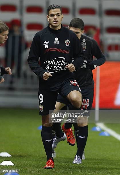 Nice's French forward Hatem Ben Arfa warms up prior to the French L1 football match Nice vs Paris SaintGermain on December 4 2015 at the 'Allianz...