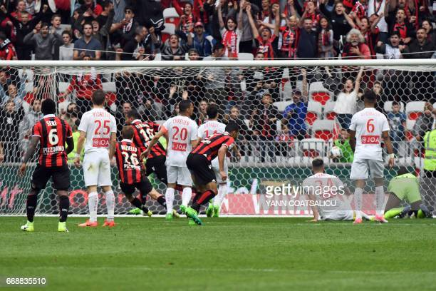 Nice's French forward Mickael Le Bihan reacts as he celebrates after scoring a goal during the French L1 Football match between OGC Nice and AS Nancy...