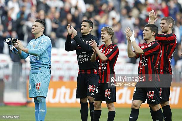Nice's French goalkeeper Yoan Cardinale Nice's French forward Hatem Ben Arfa Nice's French midfielder Vincent Koziello Nice's French forward Jeremy...