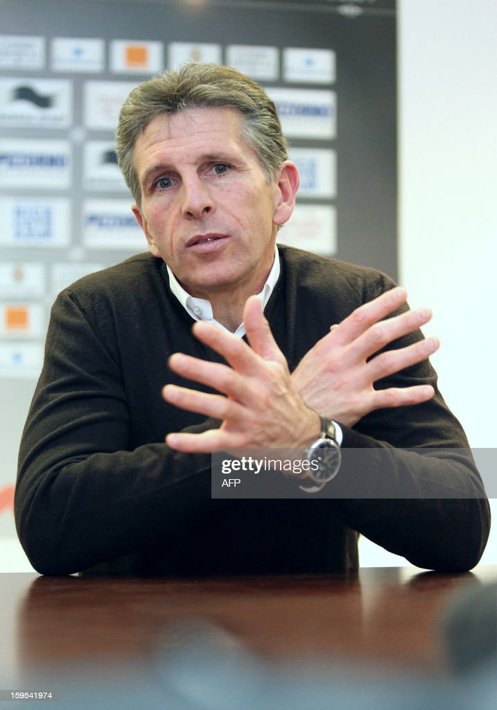 Nice's French head coach Claude Puel gives a press conference during the official presentation of Nice's newly recruited Dutch-Italian midfielder Luigi Bruins (not pictured), on January 15, 2013, at the OGC Nice football club's headquarters in Nice, southern France.
