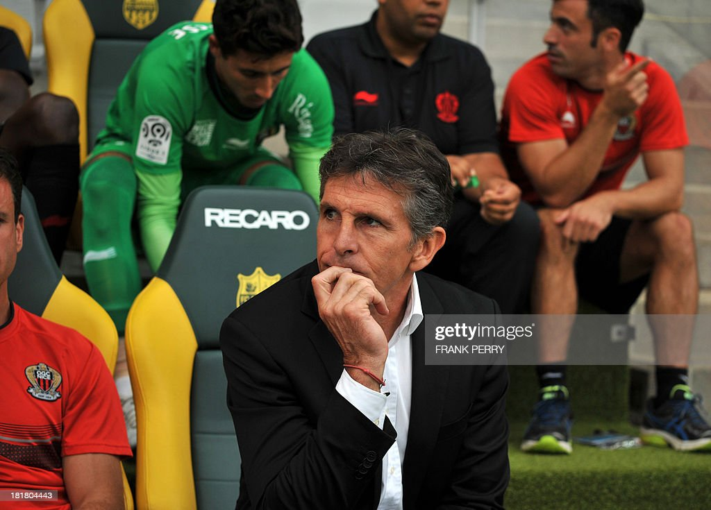 Nice's French head coach Claude Puel looks on during the French L1 football match Nantes against Nice on September 25, 2013 in La Beaujoire stadium in Nantes, western France.