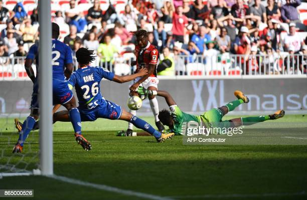 Nice's French midfielder Allan SaintMaximin kicks the ball but fails to score during the french L1 football match between OGC Nice and RCS Strasbourg...