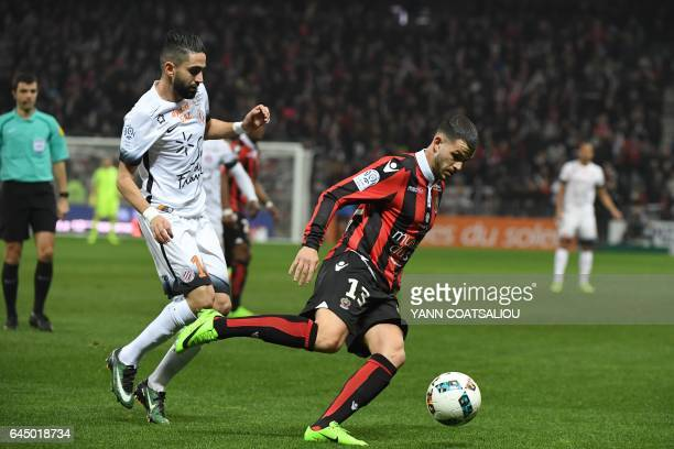 Nice's French midfielder Valentin Eysseric outruns Montpellier's French midfielder Ryad Boudebouz during the French L1 football match OGC Nice vs...