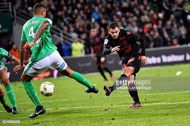 Nices French midfielder Valentin Eysseric scores a goal during the French L1 football match between SaintEtienne and Nice at the GeoffroyGuichard...