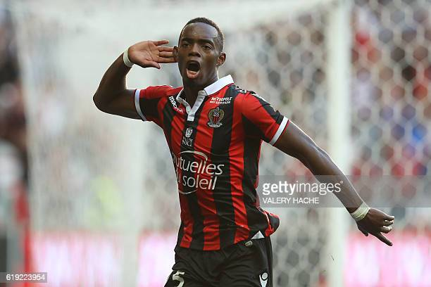Nice's French midfielder Wylan Cyprien celebrates after scoring a goal during the French L1 football match Nice vs Nantes on October 30 2016 at the...
