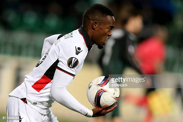 Nice's French midfielder Wylan Cyprien celebrates scoring a goal during the Europa League group I football match between FC Krasnodar and OGC Nice in...