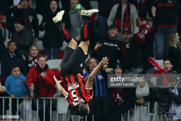 TOPSHOT Nice's Frenchborn Moroccan midfielder Younes Belhanda celebrates after scoring a goal during the French L1 football match Nice vs Toulouse on...