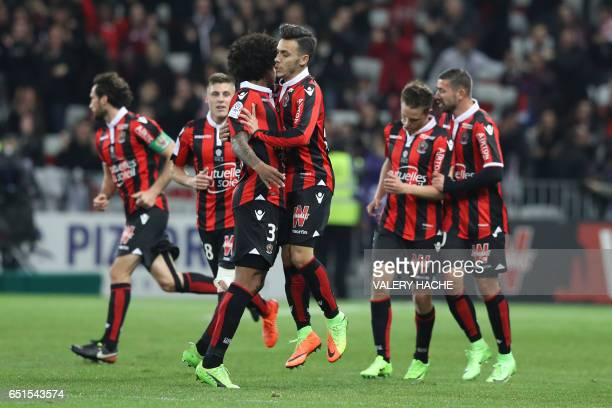 Nice's Greek forward Anastasios Donis celebrates after scoring a goal during the French L1 football match Nice vs Caen on March 10 2017 at the...