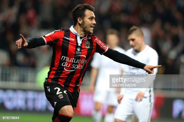 Nice's Greek forward Anastasios Donis celebrates after scoring a goal during the French L1 football match Nice vs Paris Saint Germain on April 30...