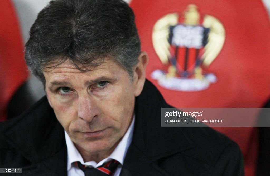 Nice's head coach Claude Puel looks on during the French L1 football match between OGC Nice (OGCN) and FC Nantes (FCN) on February 15, 2014, at the Allianz Riviera stadium, in Nice, southeastern France.