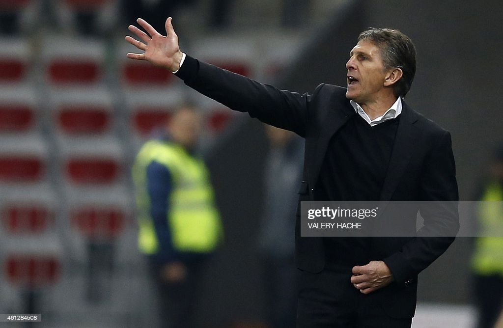 Nice's head coach <a gi-track='captionPersonalityLinkClicked' href=/galleries/search?phrase=Claude+Puel&family=editorial&specificpeople=697176 ng-click='$event.stopPropagation()'>Claude Puel</a> reacts during the French L1 football match between Nice and Lorient at the Allianz Riviera stadium in Nice, southeastern France, on January 10, 2015.