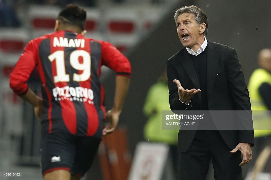 Nice's head coach <a gi-track='captionPersonalityLinkClicked' href=/galleries/search?phrase=Claude+Puel&family=editorial&specificpeople=697176 ng-click='$event.stopPropagation()'>Claude Puel</a> reacts during the French L1 football match between Nice and Evian Thonon on April 4, 2015 at the Allianz Riviera stadium in Nice, southeastern France.
