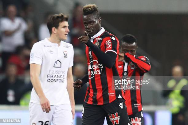 Nice's Italian forward Mario Balotelli celebrates after scoring a goal during the French L1 football match Nice vs Caen on March 10 2017 at the...