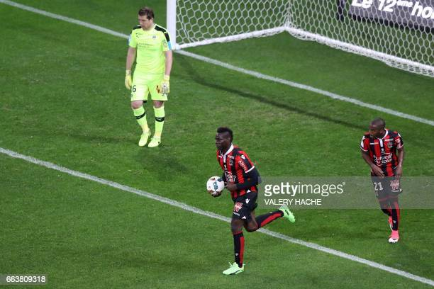 Nice's Italian forward Mario Balotelli celebrates after scoring a goal during the French L1 football match Nice vs Bordeaux on April 2 2017 at the...