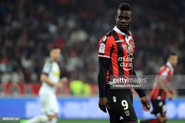 Nice's Italian forward Mario Balotelli looks on during the French L1 football match between Nice and Angers on May 14 at the Allianz Riviera stadium...